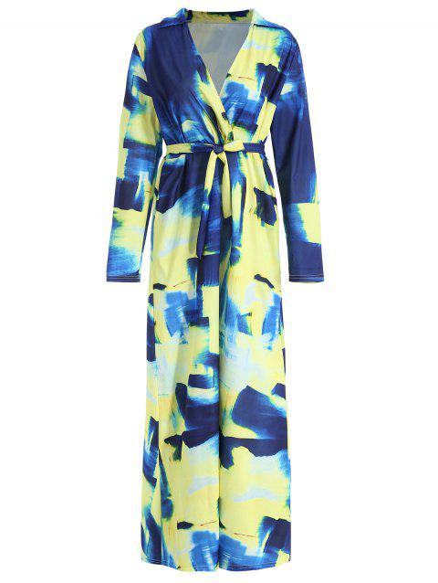 Surplice Long Sleeve Tie Dye Maxi Dress - multicolor 2XL