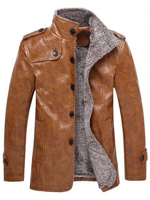 Single Breasted Epaulet Design Stand Collar Coat - LIGHT BROWN M