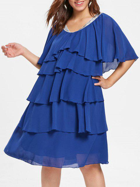 Plus Size V Neck Ruffle Layered Dress - COBALT BLUE 5X