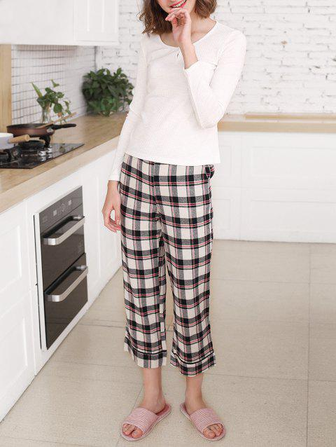 Plaid Print Sleep Set - WHITE L