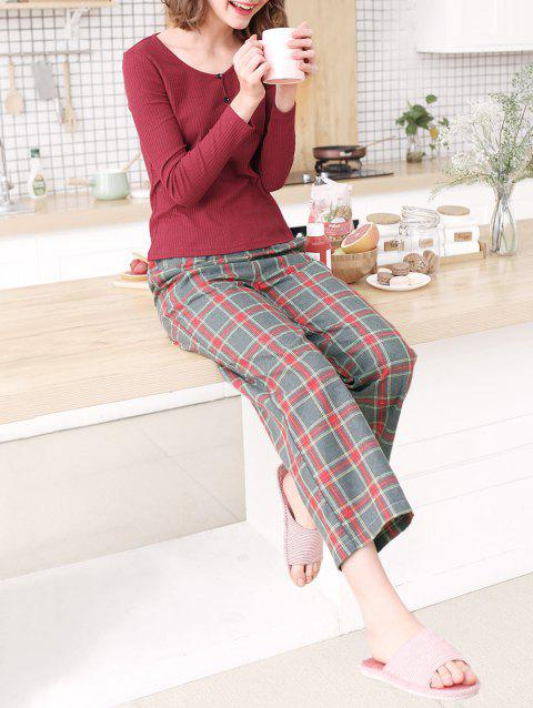 Tee and Plaid Pants Sleep Set - CHERRY RED M