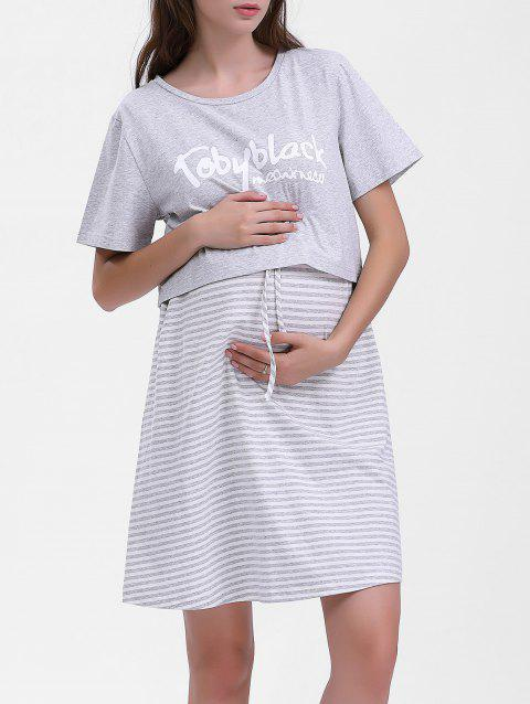 Letter and Striped Print Maternity Sleep Set - LIGHT GRAY L
