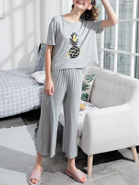 Graphic Print Sleep Set - LIGHT GRAY XL
