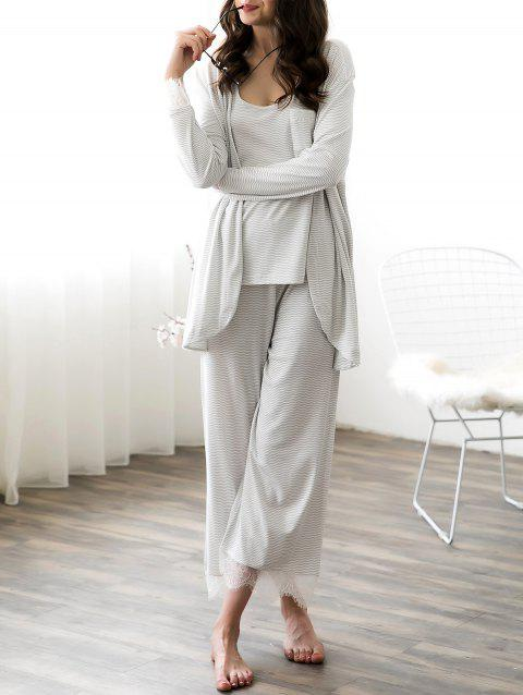 Lace Trim Striped Pajama Set - GRAY GOOSE L