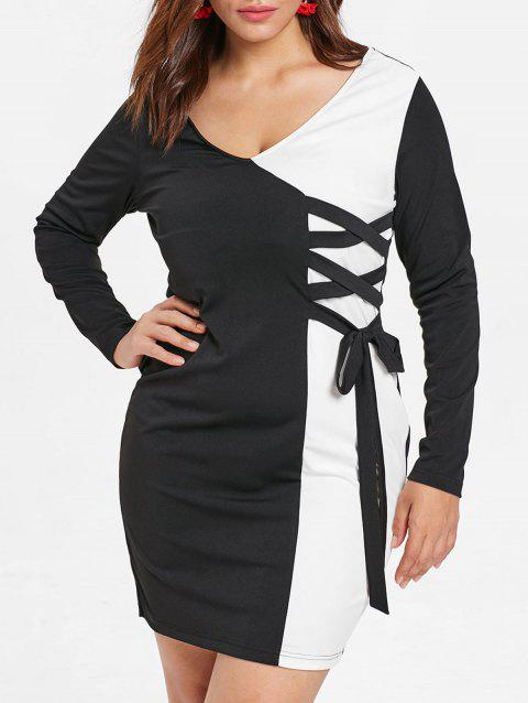 Plus Size Long Sleeves Lace Up Two Tone OL Sheath Dress - BLACK L
