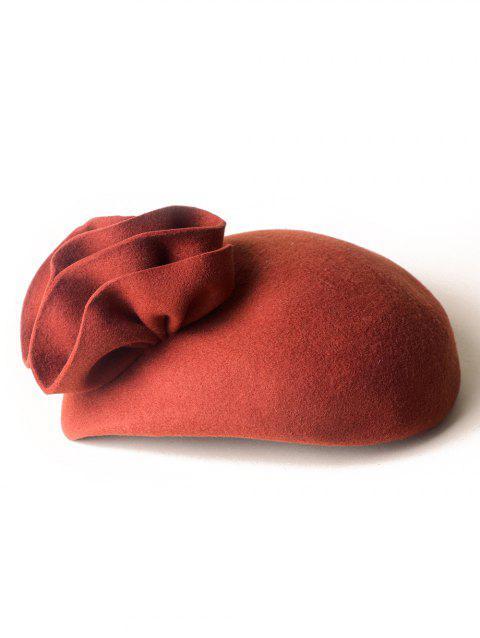 Retro Floral Solid Color Beret - PAPAYA ORANGE