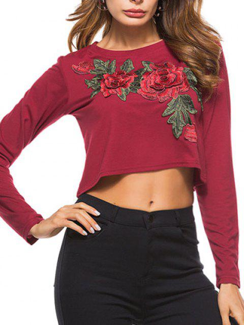 Embroidery Cropped Tee - RED WINE M