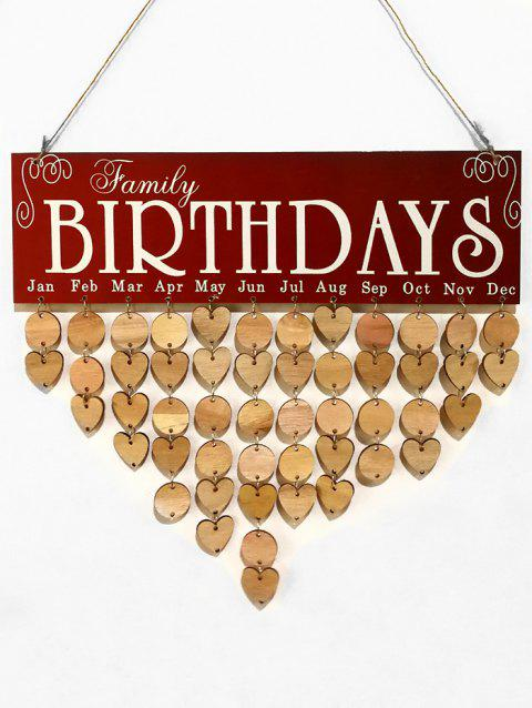 Family Birthday Wooden DIY Calendar Board - multicolor