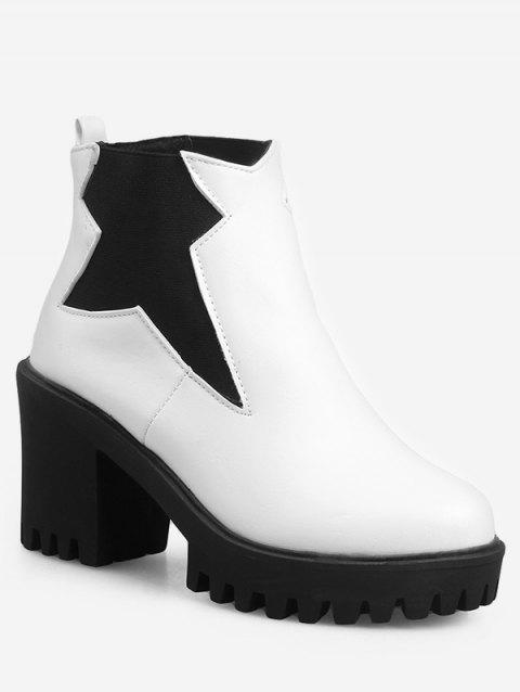 Plus Size Platform High Heel Ankle Boots - WHITE EU 38
