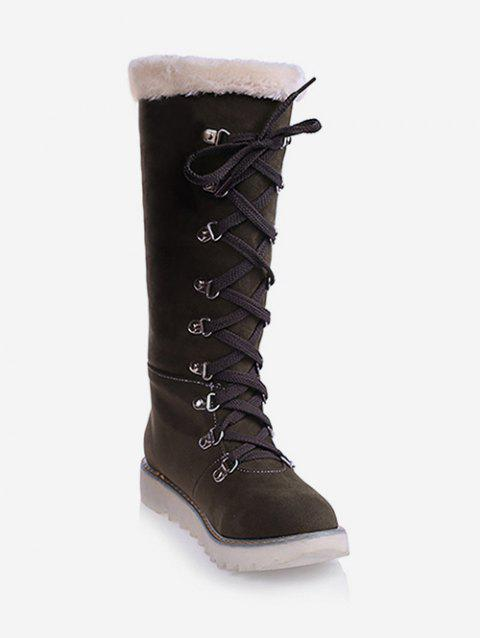 Plus Size Lacing Suede Snow Knee High Boots - ARMY GREEN EU 43