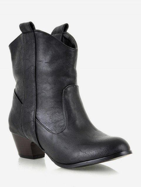 Plus Size Block Heel PU Leather Short Boots - BLACK EU 39