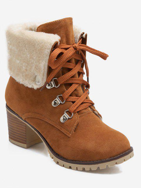 Plus Size Fuzzy Lacing Chunky Heel Snow Boots - LIGHT BROWN EU 37