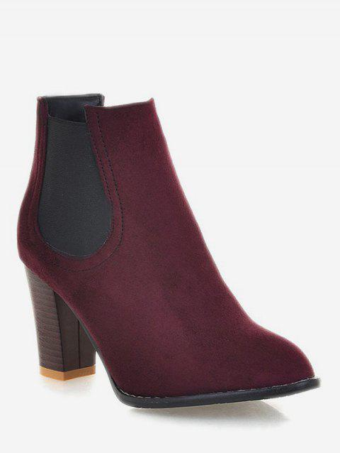 Plus Size Chunky Heel Suede Chelsea Boots - RED WINE EU 41