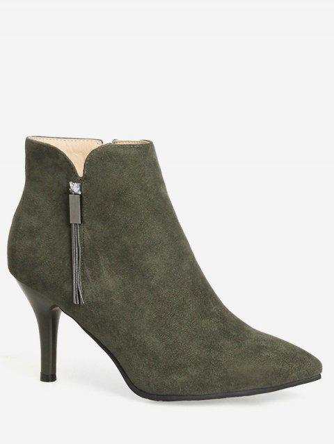 Plus Size Pointed Toe High Heel Boots - CAMOUFLAGE GREEN EU 40