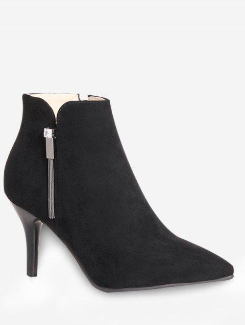 Plus Size Pointed Toe High Heel Boots - BLACK EU 39