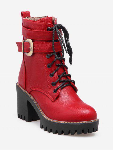 Plus Size Lacing Buckle PU Leather Platform Boots - RED WINE EU 41