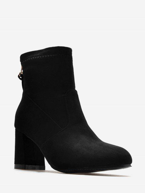 Plus Size Back Zip Chunky Heel Short Boots - BLACK EU 42