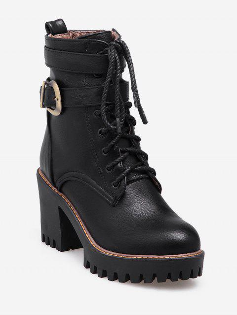 Plus Size Lacing Buckle PU Leather Platform Boots - BLACK EU 37