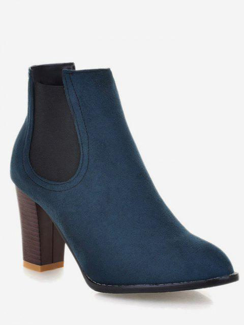 Plus Size Chunky Heel Suede Chelsea Boots - PEACOCK BLUE EU 37