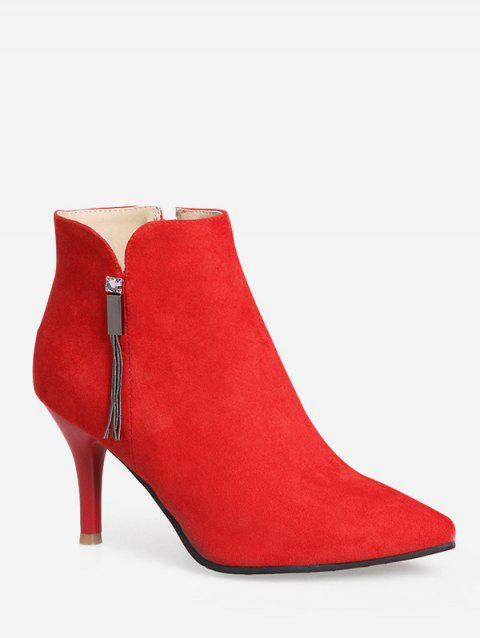 Plus Size Pointed Toe High Heel Boots - RED EU 37