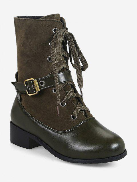 Plus Size Patch Chunky Heel Mid Calf Boots - ARMY GREEN EU 38