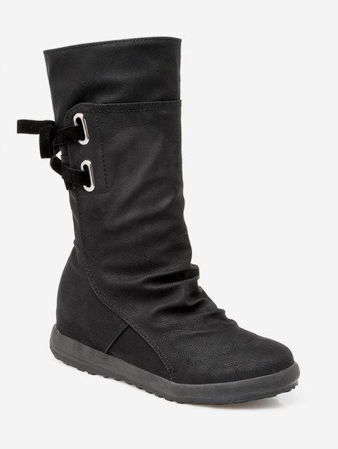 Plus Size Ruched PU Leather Mid Calf Boots - BLACK EU 38