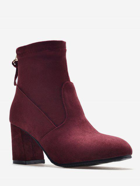 Plus Size Back Zip Chunky Heel Short Boots - RED WINE EU 37