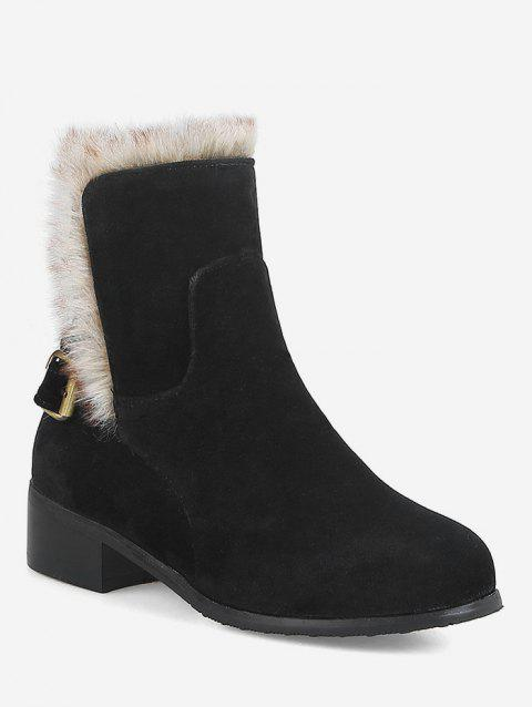Plus Size Mid Heel Faux Fur Ankle Snow Boots - BLACK EU 39