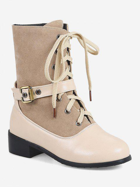 Plus Size Patch Chunky Heel Mid Calf Boots - BEIGE EU 41