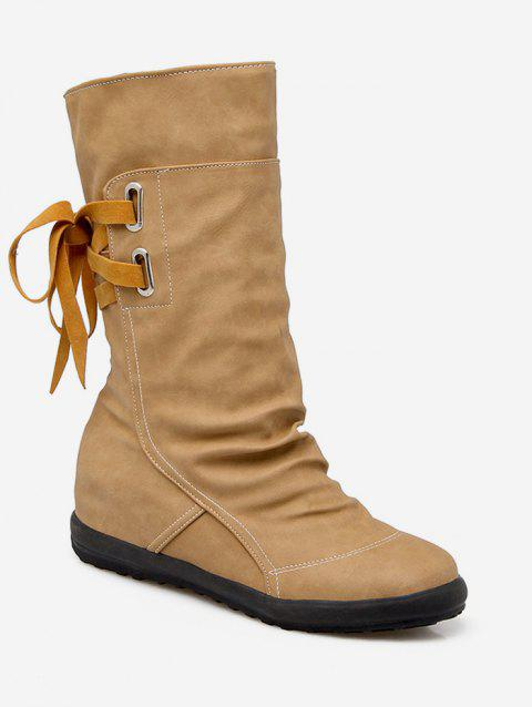 Plus Size Ruched PU Leather Mid Calf Boots - CAMEL BROWN EU 42