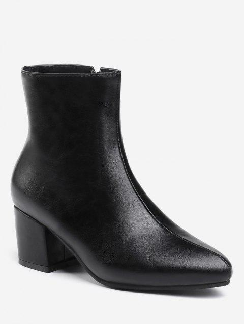 Plus Size Solid Mid Chunky Heel Ankle Boots - BLACK EU 37
