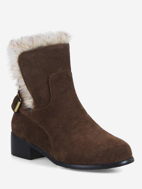 Plus Size Mid Heel Faux Fur Ankle Snow Boots - DEEP BROWN EU 42