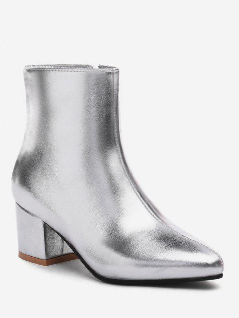 Plus Size Solid Mid Chunky Heel Ankle Boots - SILVER EU 37