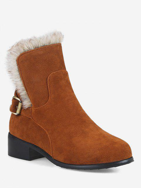 Plus Size Mid Heel Faux Fur Ankle Snow Boots - LIGHT BROWN EU 42