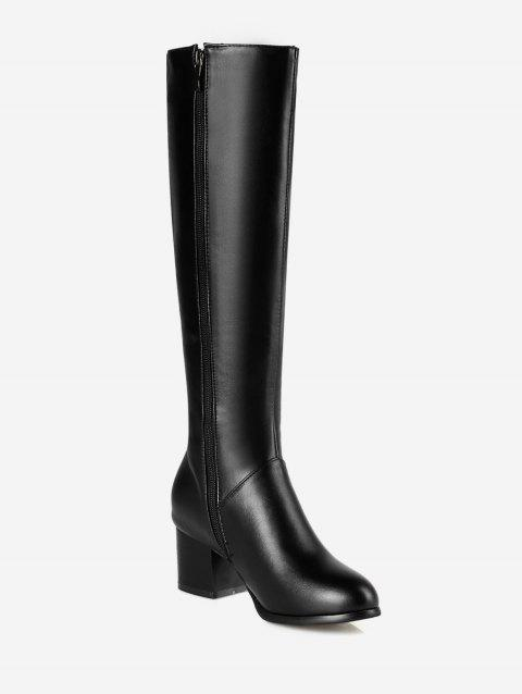 Plus Size Mid Heel Solid Knee High Boots - BLACK EU 37