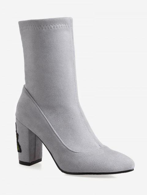 Plus Size Embroidered Pointed Toe Mid Calf Boots - GRAY GOOSE EU 36