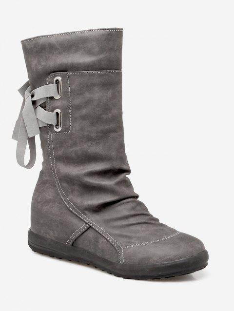 Plus Size Ruched PU Leather Mid Calf Boots - GRAY EU 39