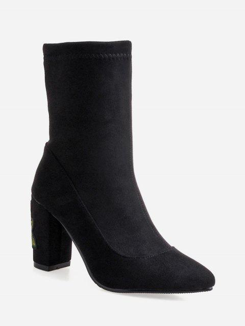Plus Size Embroidered Pointed Toe Mid Calf Boots - BLACK EU 40