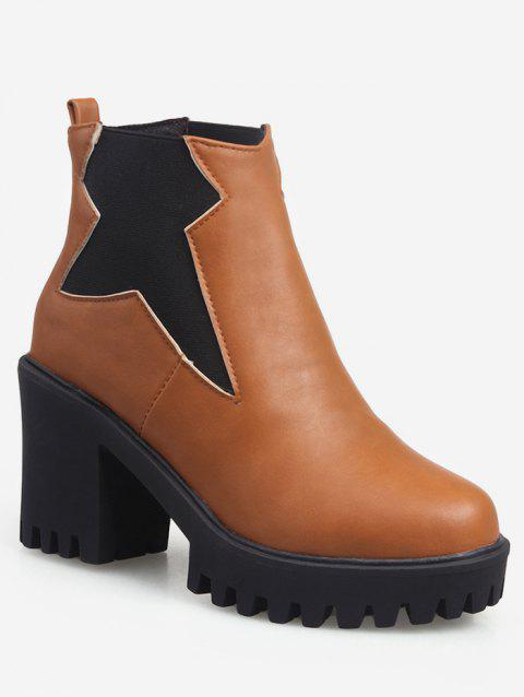 Plus Size Platform High Heel Ankle Boots - BROWN EU 43