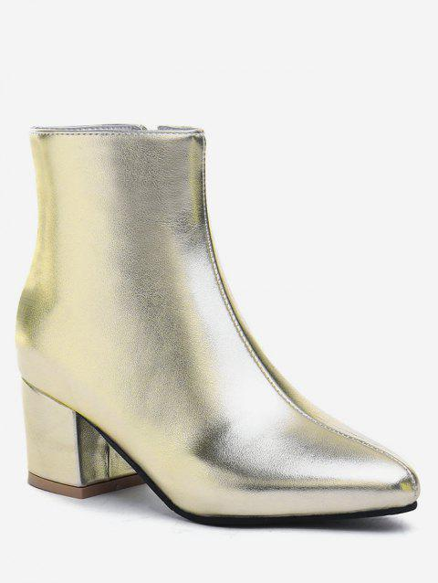 Plus Size Solid Mid Chunky Heel Ankle Boots - CHAMPAGNE GOLD EU 42