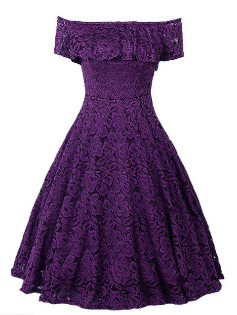 Plus Size Off Shoulder Ruffled Lace Flare Dress - PURPLE IRIS 1X