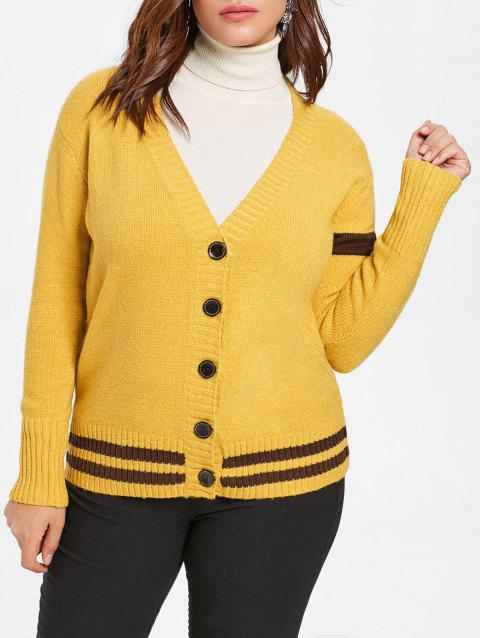 Plus Size Striped Detail Sweater Cardigan - BRIGHT YELLOW 1X