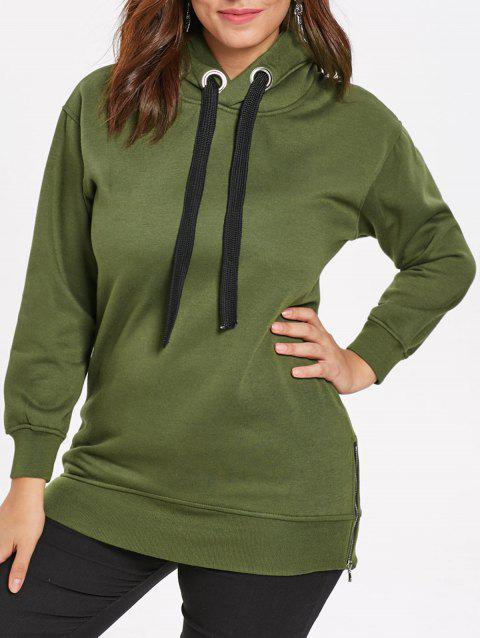 Plus Size Drawstring Tunic Hoodie - ARMY GREEN 1X