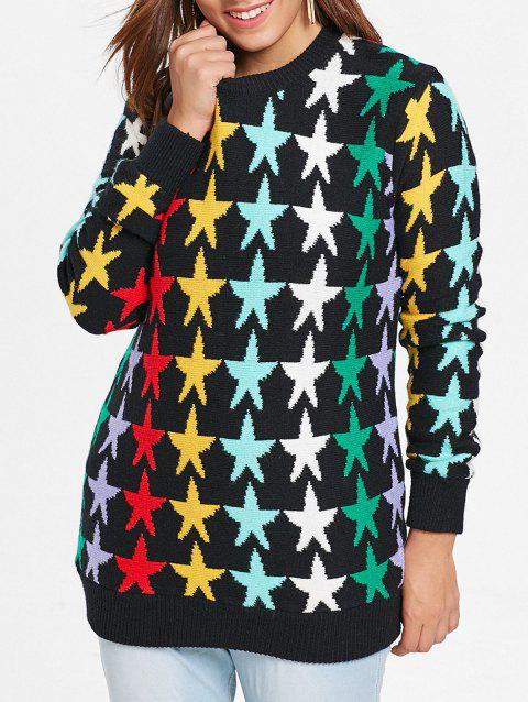 Plus Size Star Graphic Long Sweater - BLACK ONE SIZE