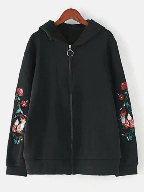 Plus Size Embroidered Hooded Jacket - BLACK L