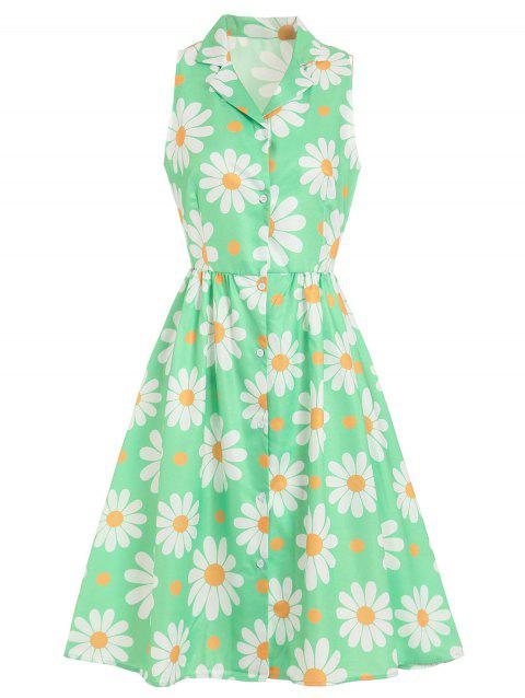 Button Up Floral Print Dress - GREEN XL