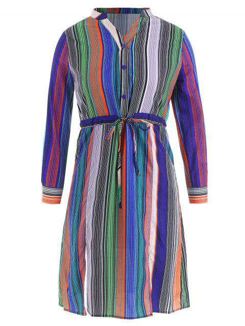 Half Button Striped Drawstring Dress - multicolor M