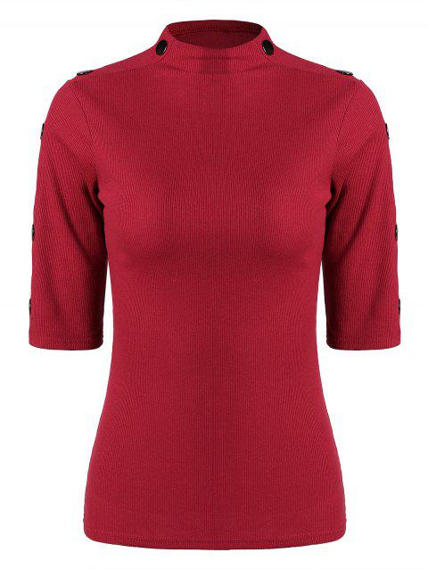 Half Sleeve Mock Neck T-shirt - RED WINE L