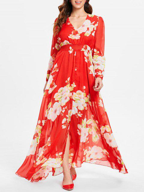Long Sleeve Floral Maxi Dress - RED L