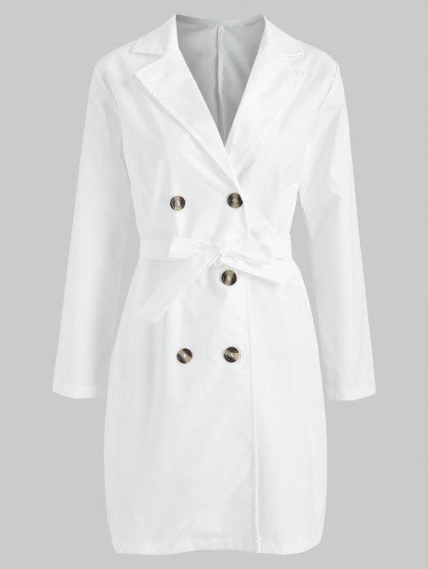 Double Breasted Long Blazer - WHITE M